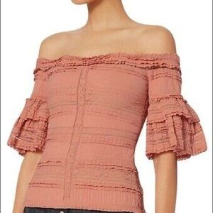 Cinq à Sept off the shoulder lace top